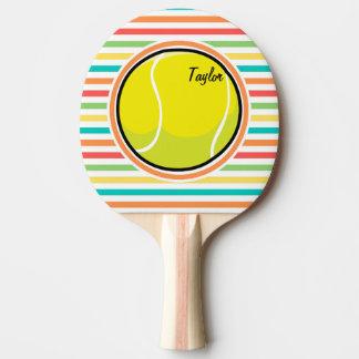 Pelota de tenis; Rayas brillantes del arco iris Pala De Ping Pong