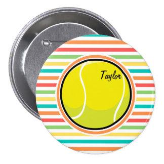 Pelota de tenis; Rayas brillantes del arco iris Pin