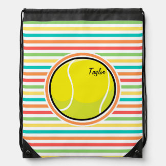 Pelota de tenis; Rayas brillantes del arco iris Mochila
