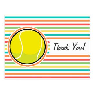 Pelota de tenis; Rayas brillantes del arco iris Postales