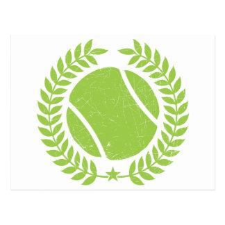 Pelota de tenis y diseño del vintage del equipo de postal