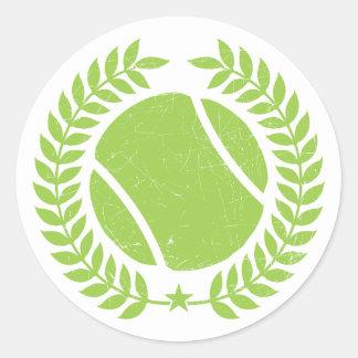 Pelota de tenis y diseño del vintage del equipo pegatina redonda