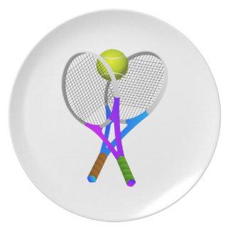 Pelota de tenis y estafas plato