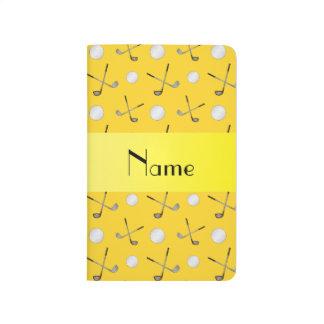 Pelotas de golf amarillas conocidas personalizadas cuaderno
