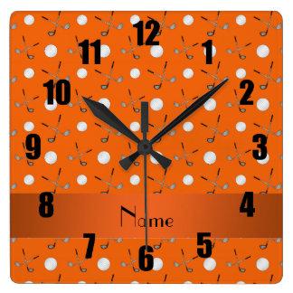 Pelotas de golf anaranjadas conocidas personalizad relojes de pared