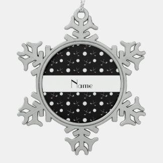 Pelotas de golf negras conocidas personalizadas adorno de peltre en forma de copo de nieve