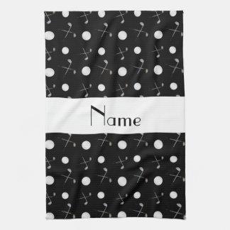 Pelotas de golf negras conocidas personalizadas toalla