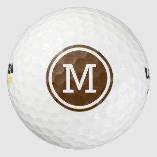 Pelotas de golf personalizadas monograma marrón pack de pelotas de golf