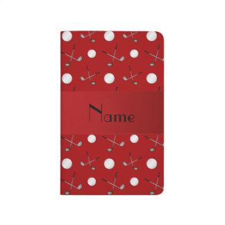 Pelotas de golf rojas conocidas personalizadas cuadernos