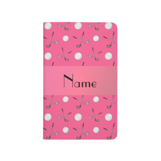 Pelotas de golf rosadas conocidas personalizadas cuaderno grapado