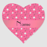 Pelotas de golf rosadas conocidas personalizadas calcomanía corazón