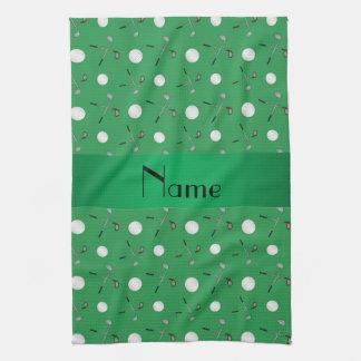 Pelotas de golf verdes conocidas personalizadas toallas de mano