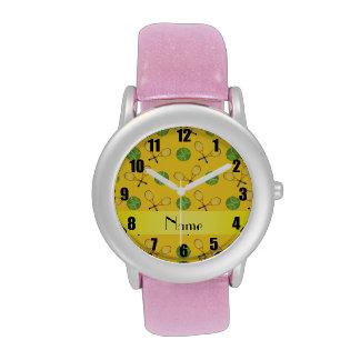 Pelotas de tenis amarillas conocidas personalizada relojes de pulsera