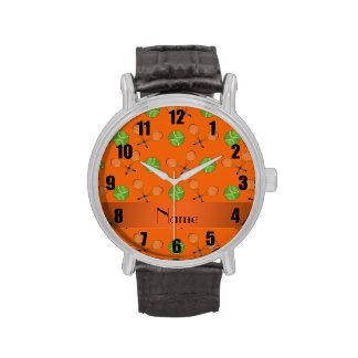 Pelotas de tenis anaranjadas conocidas personaliza relojes de pulsera