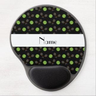 Pelotas de tenis negras conocidas personalizadas alfombrilla de ratón con gel