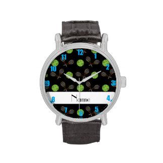 Pelotas de tenis negras conocidas personalizadas relojes de mano