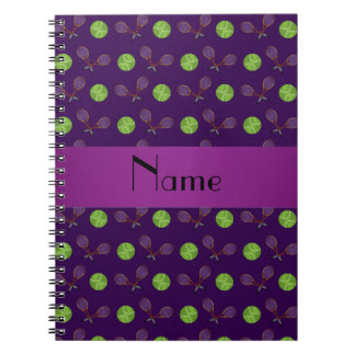 Pelotas de tenis púrpuras conocidas personalizadas libro de apuntes con espiral