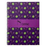 Pelotas de tenis púrpuras conocidas personalizadas cuadernos