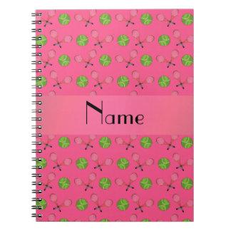 Pelotas de tenis rosadas conocidas personalizadas libros de apuntes