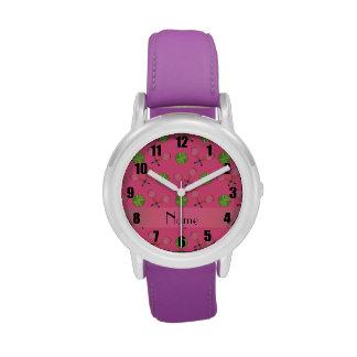 Pelotas de tenis rosadas conocidas personalizadas reloj de mano