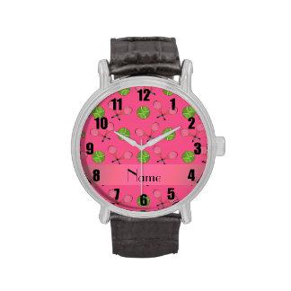 Pelotas de tenis rosadas conocidas personalizadas relojes de mano