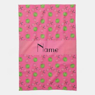 Pelotas de tenis rosadas conocidas personalizadas toalla