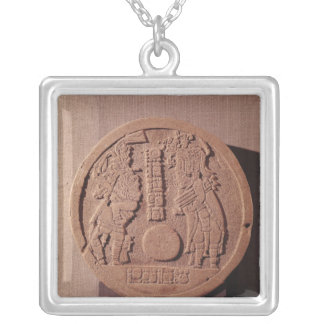 Pelote marker depicting two players silver plated necklace