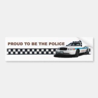 """Pelotón Checkerband """"orgulloso ser la policía """" Pegatina De Parachoque"""