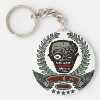 Pelotón de la élite del asesino del zombi llavero redondo tipo pin