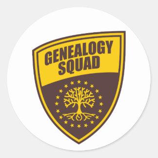 Pelotón de la genealogía pegatina redonda