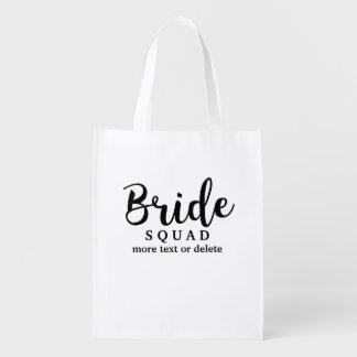 Pelotón de la novia, novia del equipo, banquete de bolsa para la compra