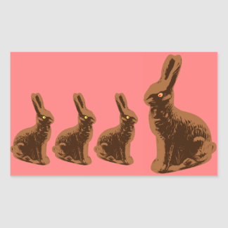 Pelotón del conejito del chocolate rectangular pegatina
