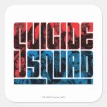 Pelotón del suicidio logotipo rojo y azul del | pegatina cuadrada