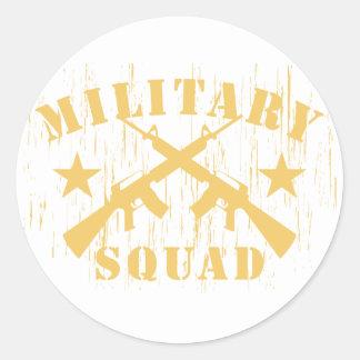Pelotón militar M16 - amarillo Pegatina Redonda