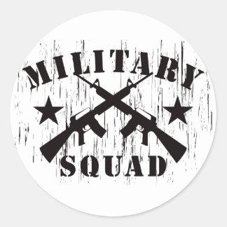 Pelotón militar M16 - negro Pegatina Redonda