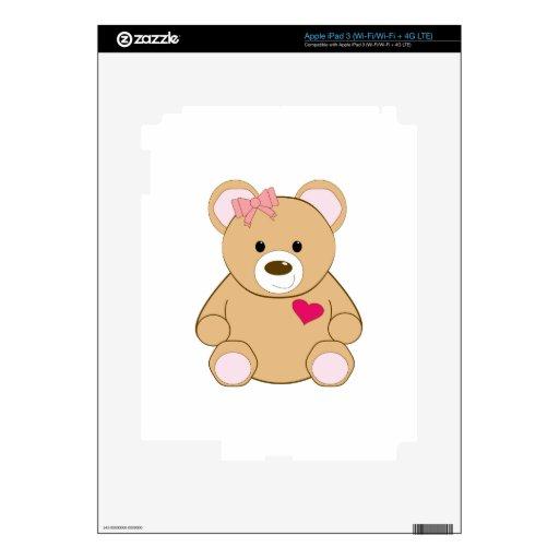 Peluche de la tarjeta del día de San Valentín Pegatinas Skins Para iPad 3