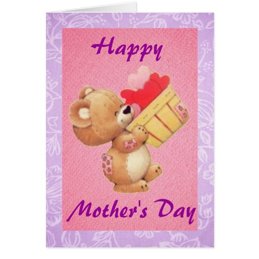 Peluche del día de madre y una cesta de corazones tarjeta de felicitación
