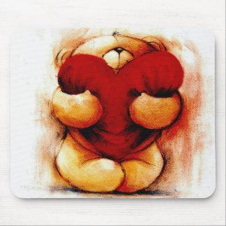 Peluche del vintage con el corazón mousepads
