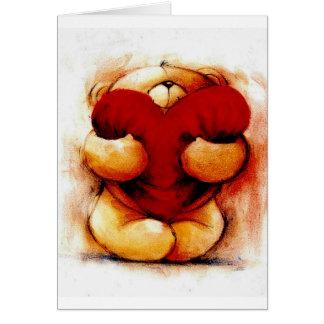 Peluche del vintage con el corazón tarjeta de felicitación