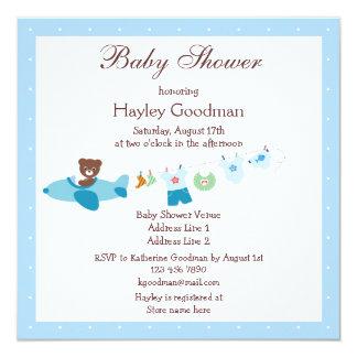 Peluche en fiesta de bienvenida al bebé del azul invitación 13,3 cm x 13,3cm