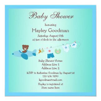 """Peluche en fiesta de bienvenida al bebé del azul invitación 5.25"""" x 5.25"""""""