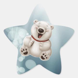 Peluche-oso polar de risa pegatina forma de estrella