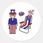 Peluches 4tos de la silla de julio pegatina redonda