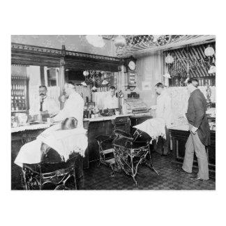 Peluquería de caballeros de New York City, 1895 Tarjeta Postal