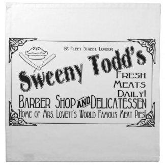 Peluquería de caballeros y charcutería de Sweeny Servilleta Imprimida