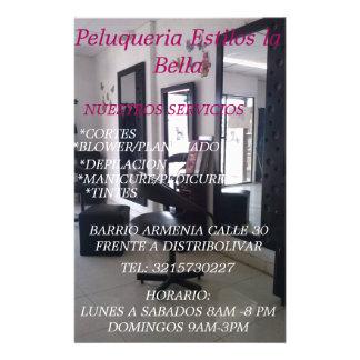 """PELUQUERIA ESTILOS LA BELLA FOLLETO 5.5"""" X 8.5"""""""