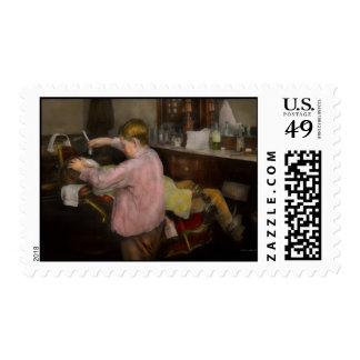 Peluquero - afeitando - fe en un niño - 1917 timbres postales