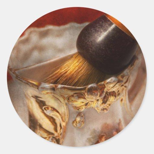 Peluquero - afeitando - la belleza de barbering etiquetas redondas