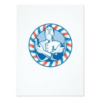Peluquero con el cortador y las tijeras del pelo invitación 13,9 x 19,0 cm