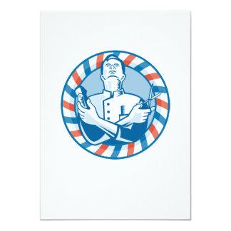 Peluquero con el cortador y las tijeras del pelo invitación 11,4 x 15,8 cm